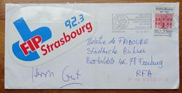 Rare Lettre  Autocollant Radio FM FIP 1987   Sur Lettre Strasbourg Pour Allemagne Encodage 2 + Barre - Automatisering - LSA