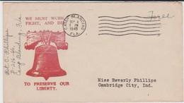 Ww2 - Guerre 39 - Lettre Patriotique Illustrée - Cloche - Usa - Liberté - Camp Blanding  Franchise - Guerre De 1939-45