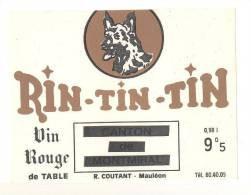 Etiquettes De Vin  -    Rin-Tin-Tin  -  R. Coutant  à  Mauléon  (79)  -  Thème Chien - Dogs