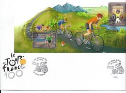 TOUR DE FRANCE CYCLISTE  2013 - 100ème EDITION CYCLISME - VELO - ENVELOPPE PREMIER JOUR FDC BLOC BS 81 2 TIMBRES - Ciclismo