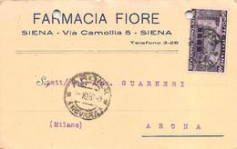 """011368 """"SIENA - FARMACIA FIORE""""  CART COMM.LE SPED 1926 - Commercio"""