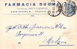 """011370 """"(FOGGIA) CERIGNOLA - FARMACIA DUOMO - DOTT. CARLO CHIOMENTI""""  CART COMM.LE SPED 1921 - Commercio"""