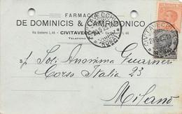 """011371 """"(ROMA) CIVITAVECCHIA - FARMACIA DE DOMINICIS & CAMPIDONICO""""  CART COMM.LE SPED 1925 - Commercio"""
