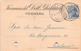"""011372 """"(PAVIA) VOGHERA - FARMACIA DOTT. GHIBAUDI""""  CART COMM.LE SPED 1922 - Commercio"""