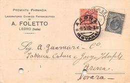 """011373 """"(TRENTINO) LEDRO - FARMACIA E LABORATORIO FARMACEUTICO DI A. FOLETTO""""  CART COMM.LE SPED 1922 - Commercio"""