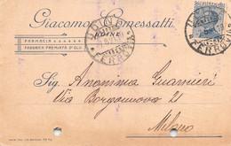 """011374 """"UDINE - FARMACIA - FABBRICA PREMIATA D'OLII - DI GIACOMO COMESSATTI""""  CART COMM.LE SPED 1921 - Commercio"""