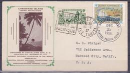 Polynesie Lettre #059 - 1936 Christmas Island Via Papeete En L'Etats Unis - LIVRAISON GRATUITE - Covers & Documents