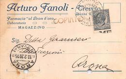"""011376 """"TREVISO - FARMACIA AL LEON D'ORO DI ARTURO FANOLI - LABORATORIO - MAGAZZINO""""  CART COMM.LE SPED 1920 - Commercio"""