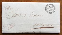 LOMBARDO VENETO - COMUNE DI MELEGNANO DISTR.12 PROVINCIA DI MILANO -  LETTERA COMPLETA IN DATA 31/1/1837 - ...-1850 Voorfilatelie