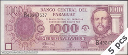TWN - PARAGUAY 221 - 1000 1.000 Guaranies 2002 DEALERS LOT X 5 - 50th Ann. Of Banco Central Del Paraguay - Prefix B UNC - Paraguay