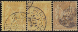 France    .  Y&T      .    92  3x      .      O    .     Oblitéré   .   /   .   Cancelled - 1876-1898 Sage (Tipo II)