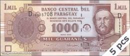 TWN - PARAGUAY 222b - 1000 1.000 DEALERS LOT X 5 - Guaranies 2005 Prefix D UNC - Paraguay