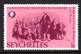 SEYCHELLES - 1976 AMERICAN REVOLUTION ANNIVERSARY 1c STAMP FINE MNH ** SG 383 - Seychellen (1976-...)