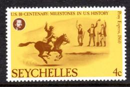 SEYCHELLES - 1976 AMERICAN REVOLUTION ANNIVERSARY 4c STAMP FINE MNH ** SG 386 - Seychellen (1976-...)