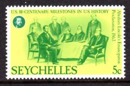 SEYCHELLES - 1976 AMERICAN REVOLUTION ANNIVERSARY 5c STAMP FINE MNH ** SG 387 - Seychellen (1976-...)