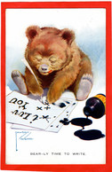 TEDDY BEAR   BEARLY TIME TO WRITE  ART BY LAWSON WOOD   PEN AND INK  Pu 1927 - Games & Toys