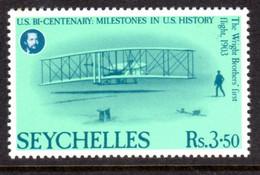SEYCHELLES - 1976 AMERICAN REVOLUTION ANNIVERSARY 3R 50c STAMP FINE MNH ** SG 389 - Seychellen (1976-...)