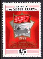 SEYCHELLES - 1977 RUSSIAN REVOLUTION ANNIVERSARY STAMP FINE MNH ** SG 402 - Seychellen (1976-...)