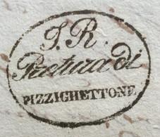 LOMBARDO VENETO - I.R. PRETURA DI PIZZIGHETTONE In Ovale  SU LETTERA COMPLETA IN DATA 24 SETTEMBRE  1840 - ...-1850 Voorfilatelie