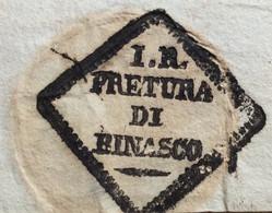 LOMBARDO VENETO - I.R. PRETURA DI BINASCO In Cartella   SU LETTERA COMPLETA IN DATA  9/9/1833 - ...-1850 Voorfilatelie