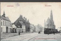20 10/ N//  HERENTHALS  GROTE MARKT MET STOOMTRAM  !!!!!!!!  1909 - Unclassified