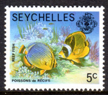 SEYCHELLES - 1977-1984 REEF FISH 1978 5c STAMP NO IMPRINT DATE FINE MNH ** SG 404A - Seychellen (1976-...)