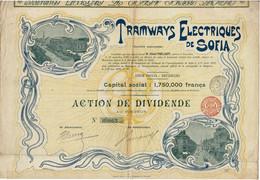 Titre Ancien - Tramways Electriques De Sofia - Société Anonyme -Titre De 1898 - Déco - - Railway & Tramway