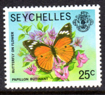 SEYCHELLES - 1977-1984 BUTTERFLY 1978 25c STAMP NO IMPRINT DATE FINE MNH ** SG 408A - Seychellen (1976-...)