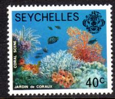 SEYCHELLES - 1977-1984 CORAL SCENE 1977 40c STAMP NO IMPRINT DATE FINE MNH ** SG 409A - Seychellen (1976-...)