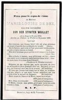 WAILLET / LIEGE - Marie Louise DE BEX - Baronne Douairière VAN DER STRATEN WAILLET - °1801 Et Décédée Au Château 1865 - Andachtsbilder