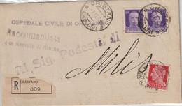 Oristano. 1939. Annullo Guller ORISTANO *CAGLIARI*, Su Raccomandata Con R R, Affrancata Con Imperiale - Storia Postale