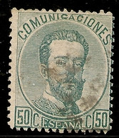 España Edifil 126 (º)  50 Céntimos Varde  Corona,Cifras Y Amadeo I  1872  NL756 - Usados