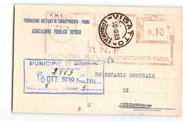 B124 P.N.F. FEDERAZIONE FASCI COMBATTIMENTO PARMA X VIGATTO - TIMBRO MECCANICO - Storia Postale