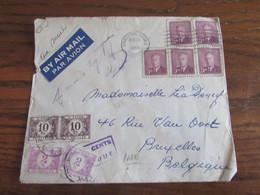 Canada: Lettre Affranchie à 15Cent Pour La Belgique En 1950 Et TAXEE à 24 FRS (2X 10FRS Et 2X 2FRS). TAXE Importante - Brieven En Documenten