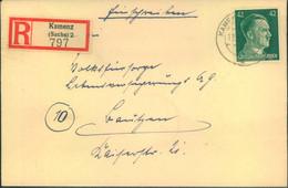 """1945, Spätes Einschreiben Mit 42 Pfg. Hitler Als EF Ab """"KAMENZ 13.3.45"""" Nach Bautzen - Cartas"""