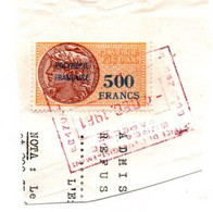 Timbre Fiscal 500 Francs Polynésie Sur Fragment Oblitéré 1981 - Altri