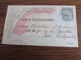France: CARTE-TELEGRAMME à 30C Noir Oblitérée Paris (en Bleu) En 1884. - 1877-1920: Periodo Semi Moderno