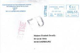 Cherbourg Armée 2006 - EMA Sur Lettre Préfecture Maritime - Machine à Affranchir Poste Navale - Posta Marittima