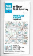 Carte Topographique St-léger-sous-beuvray -2825 OUEST -IGN FRANCE Au 1/25000 (-1989) - Cartes Topographiques
