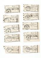 10 Coupons Recipissés De Chargement Fait Au Bureau Des Postes De BOUILLON En 1863. Cachet Linéaire Et Autre - Andere
