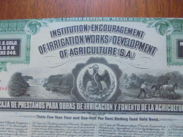 MEXIQUE - MEXICO 1908 - 2 TITRES - INSTITUTION FOR ENCOURAGEMENTS IRRIGATION WORKS & AGRICULTURE - TITRE DE  $100 - Hist. Wertpapiere - Nonvaleurs