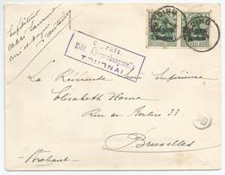 OC2 (5c Sur 5 Pf Vert) 2X Sur Courrier De Antoing (2 Frappes) Vers Bruxelles (1916)  + Belle Et Rare  Cens. Mil. Tournai - [OC1/25] Gouv. Gén.