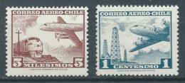 Chili Poste Aérienne YT N°203-204 Série Courante Neuf ** - Chile