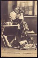 Children Girls GRETE REINWALD & Sister HANNI + Boy + Dolls. Old Real Photo Postcard 1910s - Portretten
