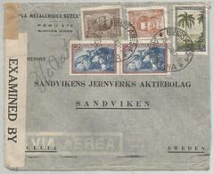 """Argentine """"La Metalúrgica Sueca"""" , Bel Affr. Multiple Vers Sandvik (Suède)  +  Censure  (1942) Et Passage Lisbonne - Fábricas Y Industrias"""