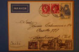 C FRANCE BELLE LETTRE RARE 1941 PAR AVION LYON POUR SANTIAGO DU CHILI +PAIRE DE T.P. AFFRANCHISSEMENT PLAISANT - Cartas