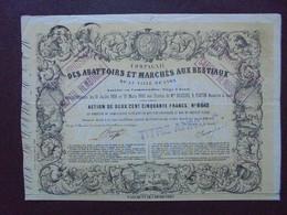 FRANCE - 13 -LYON 1860 - CIE DES ABATTOIRS ET MARCHES AUX BESTIAUX DE LA VILLE E LYON - ACTION 250 FRS - Hist. Wertpapiere - Nonvaleurs