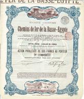 Titre Ancien - Société Anonyme Des Chemins De Fer De La Basse-Egypte - Titre De 1912 - Déco - Railway & Tramway
