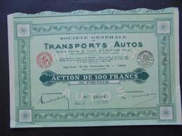 FRANCE - PARIS 1929 - STE GENERALE DE TRANSPORTS AUTOS - ACTION DE 100 FRS - Hist. Wertpapiere - Nonvaleurs