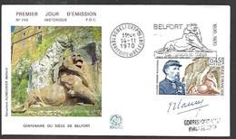 France Fdc 14 11  1970 Centenaire Du Siège De Belfort Signature Du  Graveur - 1970-1979
